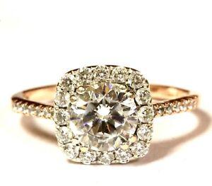 14k rose gold halo cubic zirconia CZ womens engagement ring 2.5g vintage ladies