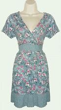Mistral~Light blue pink short sleeve floral knee length dress cotton-Size 18