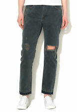 Levis 505c Relaxed Straight Ripped Black Blue Raw Hem Jeans Size 14 W32 L32