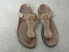 Ecco size 39 / 6 brown leather thong toe post flip flop sandals boho hippie