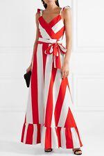 Alice + Olivia Fernanda Flutter Slevee Maxi Dress Stripe Red White Size 0 NWOT