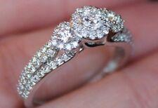 New 14K 1ct 3 Stone Real Diamond Past Present Future Halo Heart Ring White Gold