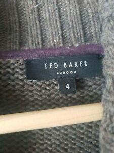 Ted Baker Mens Grey Thick Rib Cardigan Jacket Wool Cotton Blend Size 4