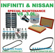 00-01 MAXIMA I30 TUNE UP KITS: SPARK PLUG BELT; AIR CABIN & OIL FILTER