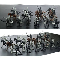 28PCS Soldier Model Medieval Knights Warriors Horses Playset Toy Culture New