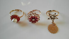 Fashion Ring Lot of 3 Rings Adjust Womens Ring Bollywood Style Indian Fancy Gold