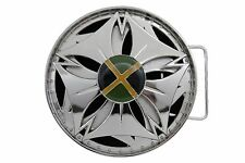 Spinning Round Circle Blue Green Jamaica New Men Women Silver Metal Buckle Round