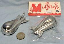 Buck Rogers Spaceship ~  1954 Die Cast Midgetoy ~ Rubber Wheels ~ Bright Silver