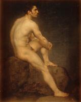 LMOP896 sitting on stone nudes man  portrait hand art oil painting on canvas