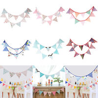 12 Flags 3.2m Fabric String Flags Wedding Birthday Party Pennant Bunting Banner