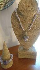 Lovely Vintage Reworked 70s Handmade Sage Amethyst & Steel Necklace & Bracelet