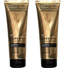 2 x LOREAL 250mL HAIR EXPERTISE PURE RICH SHAMPOO NOURISH and TAME  Brand New