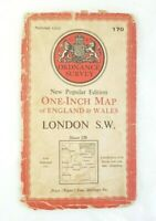 "Vintage Ordnance Survey One-Inch Map - Sheet 170 LONDON S.W - 1948 OS 1"" Maps"