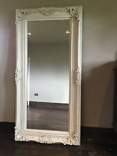 ANTIQUE WHITE CREAM SHABBY CHIC STATEMENT FRENCH WOOD OVERMANTLE MIRROR 4FT 3FT