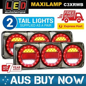 PAIR MAXILAMP 3 LED Combination Tail Lights STOP TAIL INDICATOR REVERSE UTE TRAY