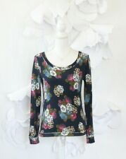 Anthropologie Floral Top Blouse Women's S Blue Soft French Terry Bow Back Casual