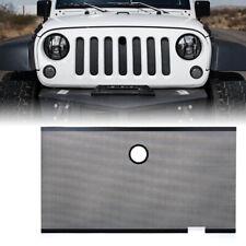Xprite Black Steel Grille Insert Hood Lock Hole for 07-18 Jeep Wrangler JK JKU