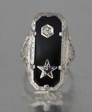#RW144  14K  WHITE GOLD ANTIQUE  FILIGREEonyx MASONIC EASTERN STAR DIAMOND RING
