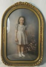 Vintage Antique Ornate Gesso Over Wood Convex Glass Picture Frame Girl Portrait
