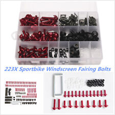 223x Red Aluminum Motorcycle Windscreen Fairing Bolts Kit Fastener Clips Screws