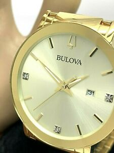 Bulova Mens Watch 97D115 Diamond Accent Gold Tone Stainless Steel Champagne Dial