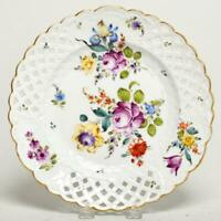 """MEISSEN PIERCED RETICULATED FLORAL & GOLD GILT 9"""" PLATE, GERMANY"""