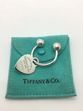 Return to Tiffany & Co. Heart Tag Key Ring Key Chain Sterling Silver w/ Pouch