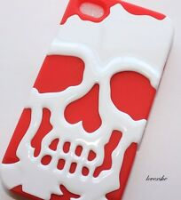 iPHONE 4 4G 4S - HARD & SOFT RUBBER DUAL LAYER ARMOR IMPACT CASE RED WHITE SKULL