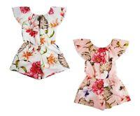Kids Girls Floral Print Playsuit Jumpsuit Off Cold Shoulder Bardot Age 4-14 Year