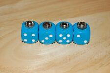 DUDDS DICE LT. BLUE OPAQUE w/WHITE DOTS VALVE STEM CAPS (4 PACK) #5