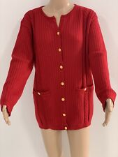 Trent Nathan Vintage Red Wool Cardigan 1970s Size M