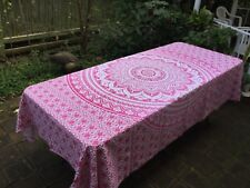 Table Cloth traditional hand printed in Indian cotton throws large 2.3m x 2.1m