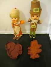 Vintage Pilgrim Boy & Girl Dolls Man Woman Felt Thanksgiving & Cookie Cutters