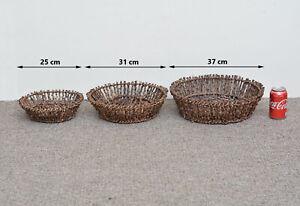 set of 3 willow twig baskets for display / garden planter /wedding/ florist