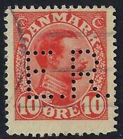 Denmark Perfin E24 - E.R.: Ernaeringdraadet (1918-1926), 10 ore Carmine, RF: 50