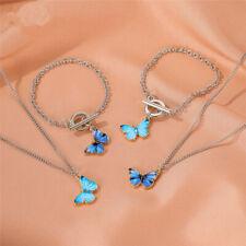 Women's Bohemian Butterfly Jewelry Set Silver Necklace Earrings Bracelet Bangle