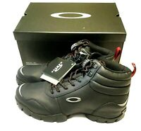 NEW OAKLEY OUTDOOR BOOTS Men's 11 Black Leather w/ Silver Icons Hiking Tactical