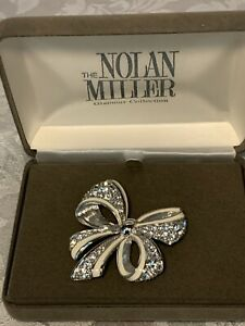 NEW Nolan Miller Pave Rhinestone Bow Silver White Ribbon Pin Brooch in box