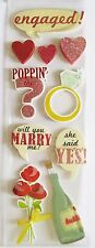 Engaged Marry Me Champagne Diamond Ring Poppin' Wedding Recollections 3D Sticker