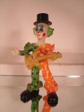Paper Papier Mache Clown Figurine with Guitar - Handpainted