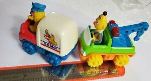 2 lot Sesame Street Big Bird's Mail & bert tow TrucksTyco Fisher Price (1996/97)