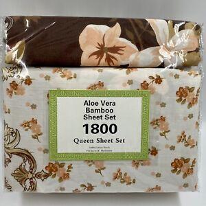 Aloe Vera Bamboo 6-Piece Sheet Set 1800 Series Queen Size Deep Pocket Floral NIP
