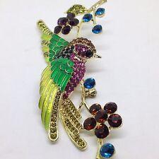 """Pretty 4.25"""" Long BIRD BRANCH BROOCH PIN Crystal Rhinestone Enamel Gold Tone"""