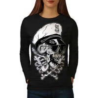Wellcoda Pirate Swag Head Skull Womens Long Sleeve T-shirt, Skull Casual Design