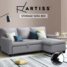 Artiss Sofa Bed Lounge Set 3 Seater Futon Couch Storage Chaise Corner Grey