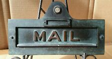 VINTAGE SOLID BRONZE MAIL SLOT WITH DOOR BELL BUTTON & GREAT GREEN PATINA