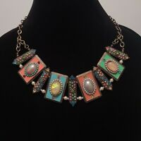 Faux Pearl Opal Rhinestone Necklace Art Deco Style Bib Statement Brass