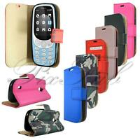 For Nokia 3310 3G 4G New Genuine Black Leather Wallet Phone Case + Screen Guard