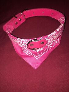 Adjustable Bandanna Dog Collar Pink Small Dogs / Puppies Pu Pleather Leather