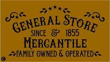 Primitive STENCIL, GENERAL STORE & MERCANTILE Country Theme Western Farm